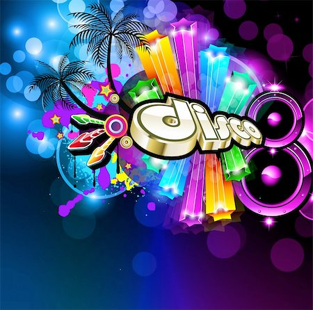 Music Disco Flyer for Dancing Event Posters with Rainbow Colours Stock Photo - Budget Royalty-Free & Subscription, Code: 400-04320062
