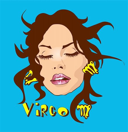 face woman beautiful clipart - Woman Face Beauty Virgo Horoscope set make-up and beauty Stock Photo - Budget Royalty-Free & Subscription, Code: 400-04320159