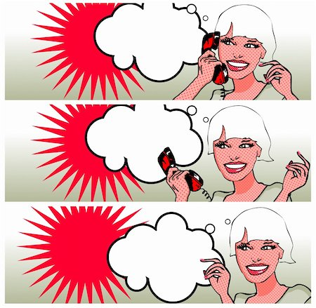Comics style girl talking by phone (raster version) Stock Photo - Budget Royalty-Free & Subscription, Code: 400-04320168