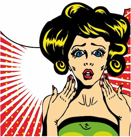 Popart comic 1 Love Vector illustration of surprised woman face Stock Photo - Budget Royalty-Free & Subscription, Code: 400-04320198