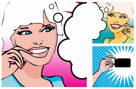 Comics style girl and Hand with a card (raster version) Stock Photo - Budget Royalty-Free & Subscription, Code: 400-04320205