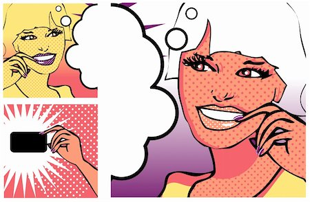 Comics style girl and Hand with a card (raster version) Stock Photo - Budget Royalty-Free & Subscription, Code: 400-04320260
