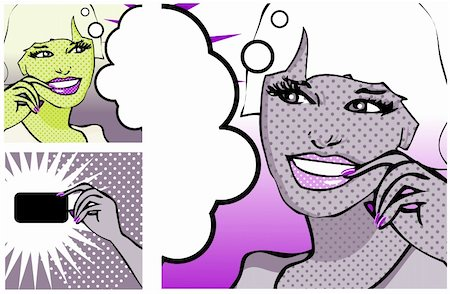 Comics style girl and Hand with a card (raster version) Stock Photo - Budget Royalty-Free & Subscription, Code: 400-04320368