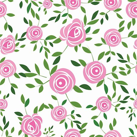 Seamless  flower background with rose and leaves, element for design, vector illustration.Vector version of this image also available in my portfolio Stock Photo - Budget Royalty-Free & Subscription, Code: 400-04320585