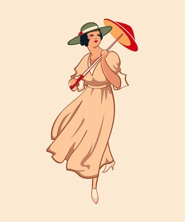 Art nouveau spring fashion girl with umbrella Stock Photo - Budget Royalty-Free & Subscription, Code: 400-04320601