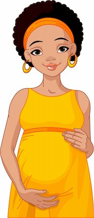 pretty in black clipart - African pregnant woman in pink pregnant dress is prepared for maternity. Stock Photo - Budget Royalty-Free & Subscription, Code: 400-04320628