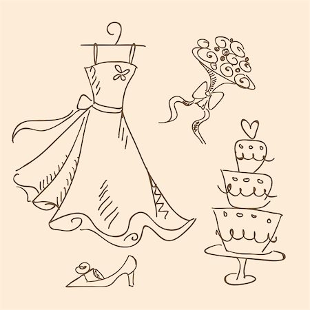 wedding sketch, vector illustration Stock Photo - Budget Royalty-Free & Subscription, Code: 400-04320748