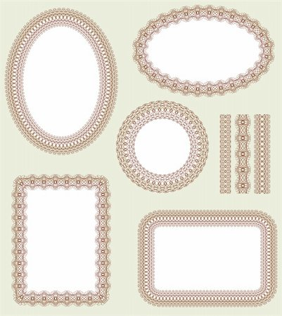 Seamless pattern and decorative frame set. Pattern is included as a seamless swatch. Stock Photo - Budget Royalty-Free & Subscription, Code: 400-04321412