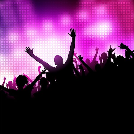 A group of people having a good time. Crowd in front of a stage. Vector Stock Photo - Budget Royalty-Free & Subscription, Code: 400-04321439