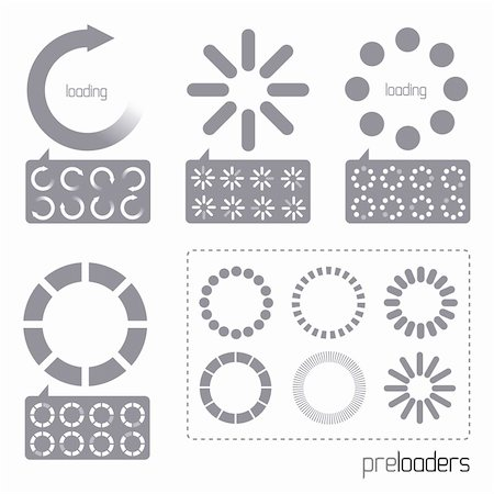solarseven - Web 2.0 Vector Progress Loader Icons. A collection of vector internet progress loader icons Stock Photo - Budget Royalty-Free & Subscription, Code: 400-04321443