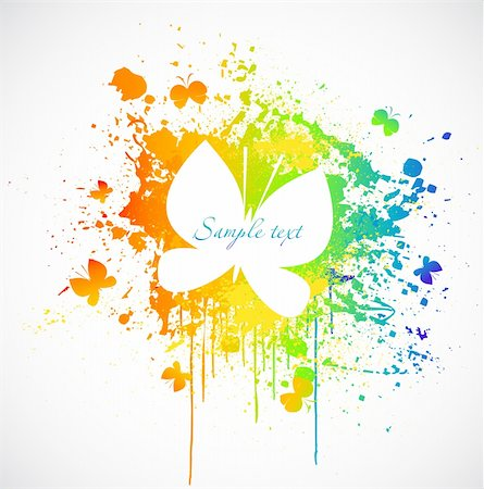 illustration with colorful butterfly paint stain. Vector Stock Photo - Budget Royalty-Free & Subscription, Code: 400-04322003