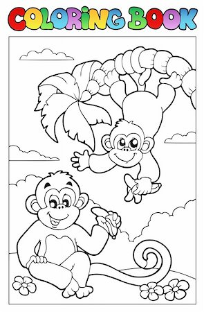 Coloring book with two monkeys - vector illustration. Stock Photo - Budget Royalty-Free & Subscription, Code: 400-04322839
