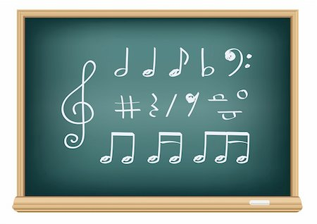 Drawing music notes by a chalk on the classroom blackboard Stock Photo - Budget Royalty-Free & Subscription, Code: 400-04322978