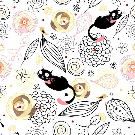seamless black pattern with a natural colored cats and birds on a white background Stock Photo - Budget Royalty-Free & Subscription, Code: 400-04323851