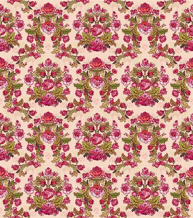 Seamless Damask floral background pattern with flowers. Vector illustration. Stock Photo - Budget Royalty-Free & Subscription, Code: 400-04323987