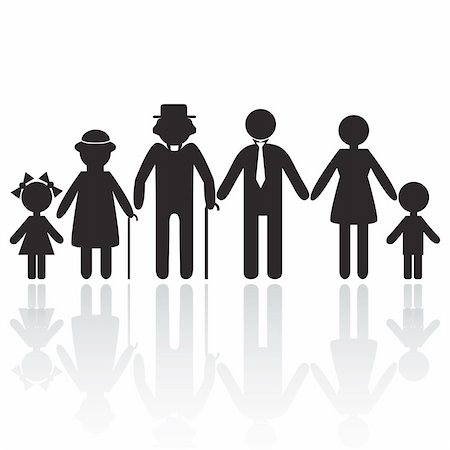 Silhouettes of woman man kid grandfather grandmother family, vector illustration. Element for design icon Stock Photo - Budget Royalty-Free & Subscription, Code: 400-04334079