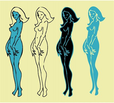4 emblems variations of beautiful nude woman silhouette Stock Photo - Budget Royalty-Free & Subscription, Code: 400-04334394