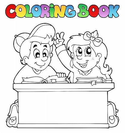 Coloring book with two pupils - vector illustration. Stock Photo - Budget Royalty-Free & Subscription, Code: 400-04334540