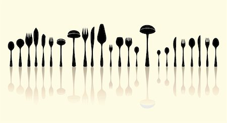 silverware black and white silhouettes Stock Photo - Budget Royalty-Free & Subscription, Code: 400-04335335