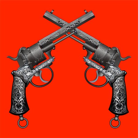 two old guns with ornament on red background Stock Photo - Budget Royalty-Free & Subscription, Code: 400-04335599