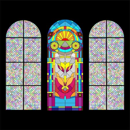 Stained glass church window on black Stock Photo - Budget Royalty-Free & Subscription, Code: 400-04335615