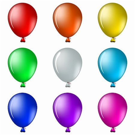 Set of isolated on white balloons all colours of a rainbow Stock Photo - Budget Royalty-Free & Subscription, Code: 400-04335616