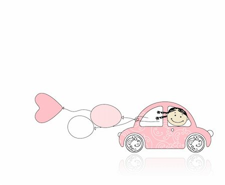 Smiling girl behind wheel pink car for your design Stock Photo - Budget Royalty-Free & Subscription, Code: 400-04336099