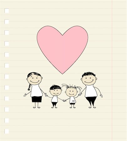Happy family with love, drawing sketch Stock Photo - Budget Royalty-Free & Subscription, Code: 400-04336149