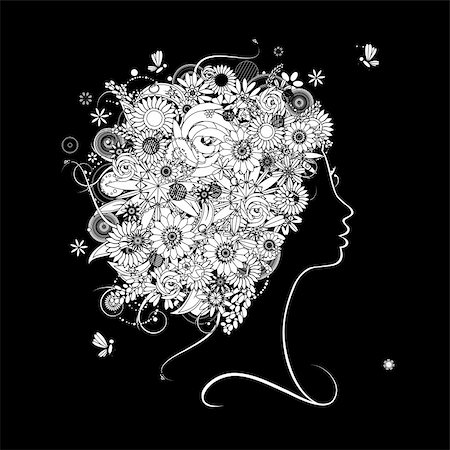 Female profile silhouette, floral hairstyle for your design Stock Photo - Budget Royalty-Free & Subscription, Code: 400-04336162