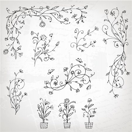 Floral ornament sketch, silhouette for your design Stock Photo - Budget Royalty-Free & Subscription, Code: 400-04336173