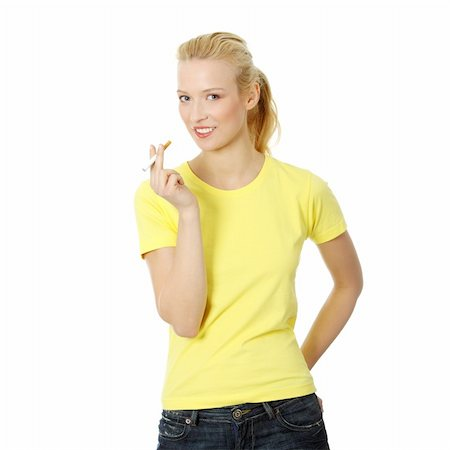 Young woman smoking electronic cigarette (e cigarette), isolated on white Stock Photo - Budget Royalty-Free & Subscription, Code: 400-04336186