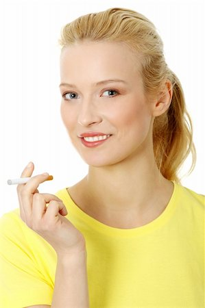Young woman smoking electronic cigarette (e cigarette), isolated on white Stock Photo - Budget Royalty-Free & Subscription, Code: 400-04336187