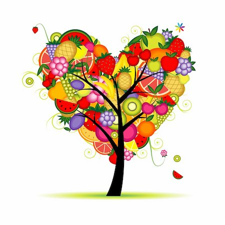 Energy fruit tree heart shape for your design Stock Photo - Budget Royalty-Free & Subscription, Code: 400-04336417