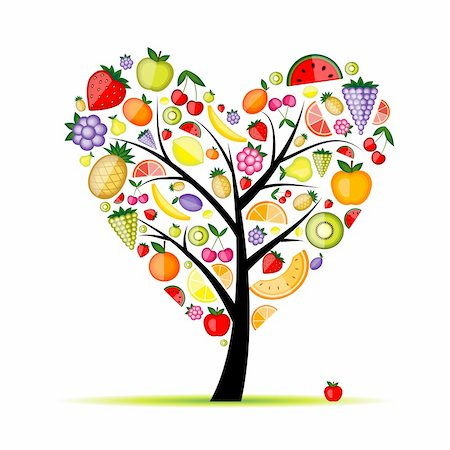 Energy fruit tree heart shape for your design Stock Photo - Budget Royalty-Free & Subscription, Code: 400-04336419