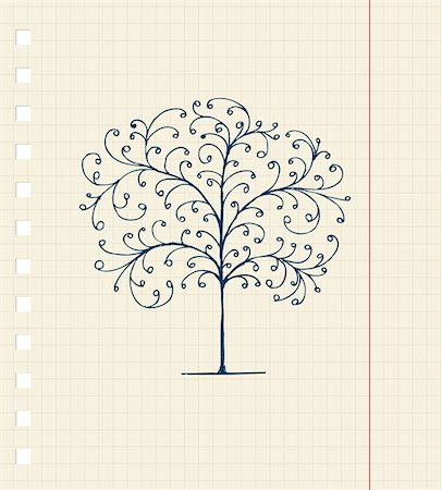 Sketch of tree on notebook sheet for your design Stock Photo - Budget Royalty-Free & Subscription, Code: 400-04336467