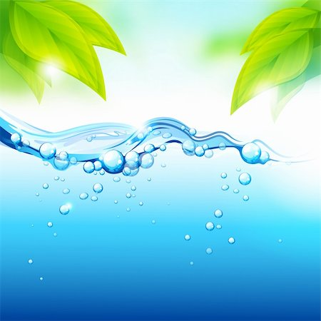 Pure Fresh Mineral Water with fresh green leaves. Vector illustration Stock Photo - Budget Royalty-Free & Subscription, Code: 400-04336669