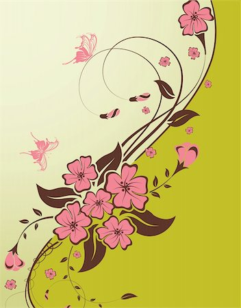 filigree designs in trees and insects - Decorative Floral background with butterfly and wave pattern, vector illustration Stock Photo - Budget Royalty-Free & Subscription, Code: 400-04336940