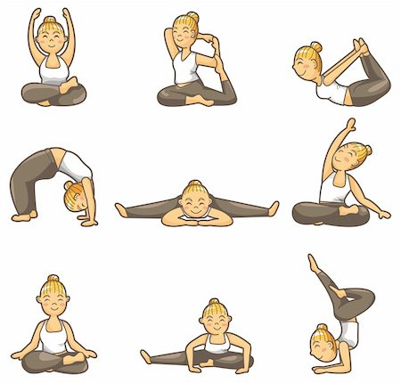 cartoon yoga girl icon Stock Photo - Budget Royalty-Free & Subscription, Code: 400-04337089