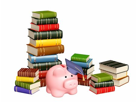 education loan - Piggy bank with cap and books. Objects isolated over white Stock Photo - Budget Royalty-Free & Subscription, Code: 400-04337197