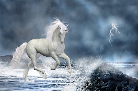 a white Unicorn wading in the water Stock Photo - Budget Royalty-Free & Subscription, Code: 400-04337269
