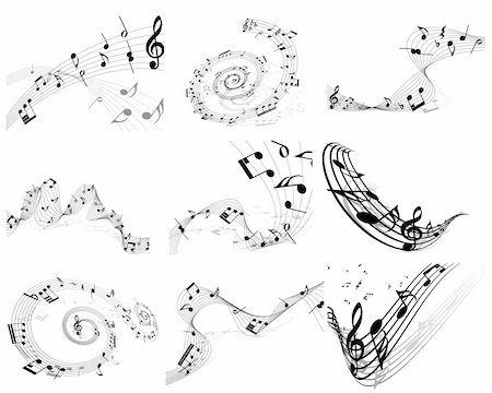 Vector musical note staff background set for design use Stock Photo - Budget Royalty-Free & Subscription, Code: 400-04337387
