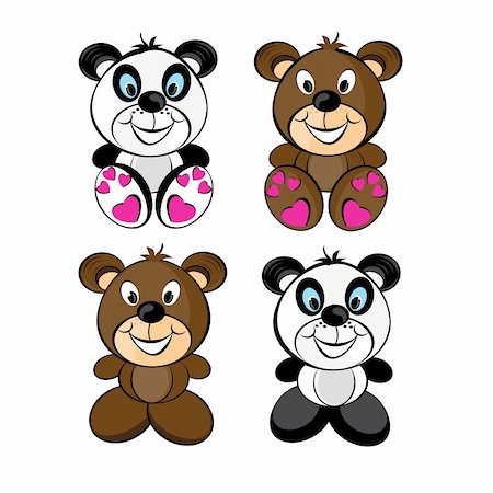 simsearch:400-04598294,k - Teddy bears set. Illustration isolated on white background Stock Photo - Budget Royalty-Free & Subscription, Code: 400-04337496
