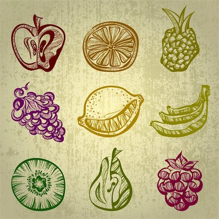 set of fruits, this illustration may be useful as designer work Stock Photo - Budget Royalty-Free & Subscription, Code: 400-04337631