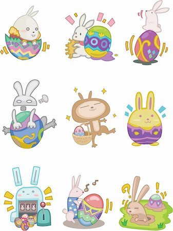 cartoon easter rabbit and egg icon Stock Photo - Budget Royalty-Free & Subscription, Code: 400-04337807