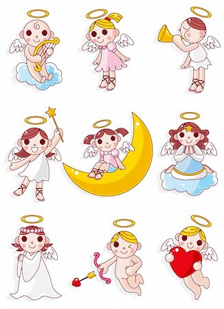 flying heart girl - cartoon angel icon Stock Photo - Budget Royalty-Free & Subscription, Code: 400-04337811