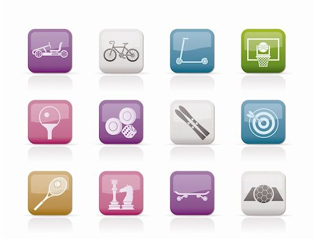 sports scooters - sports equipment and objects icons - vector icon set 2 Stock Photo - Budget Royalty-Free & Subscription, Code: 400-04337865