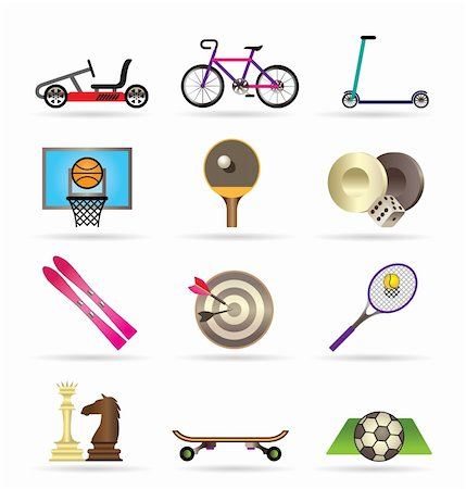 sports scooters - sports equipment and objects icons - vector icon set2 Stock Photo - Budget Royalty-Free & Subscription, Code: 400-04337868