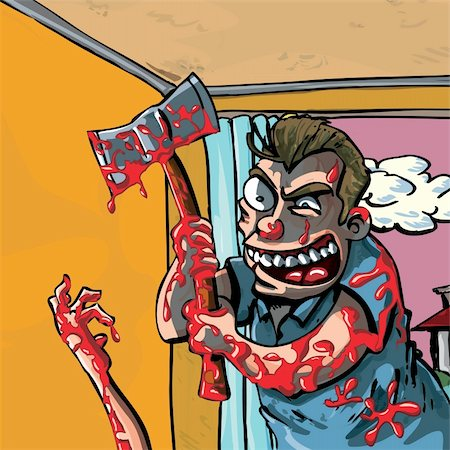 A cartoon of a axe murderer going about his bloody business Stock Photo - Budget Royalty-Free & Subscription, Code: 400-04338036