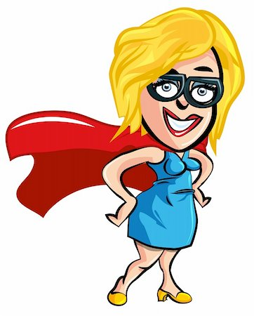 Cartoon superhero lady office worker with glasses Stock Photo - Budget Royalty-Free & Subscription, Code: 400-04338076