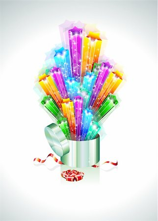 Birthday or Christmas Gift Card with an Explosion of Stars Stock Photo - Budget Royalty-Free & Subscription, Code: 400-04338594